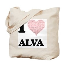 I Love Alva (Heart Made from Love words) Tote Bag