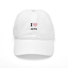 I Love Alva (Heart Made from Love words) Baseball Baseball Cap