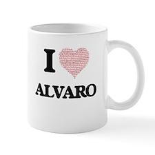 I Love Alvaro (Heart Made from Love words) Mugs