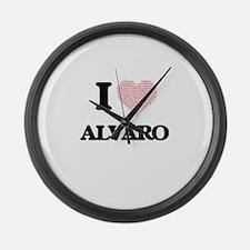 I Love Alvaro (Heart Made from Lo Large Wall Clock