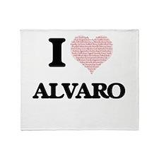I Love Alvaro (Heart Made from Love Throw Blanket