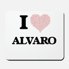 I Love Alvaro (Heart Made from Love word Mousepad