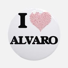 I Love Alvaro (Heart Made from Love Round Ornament