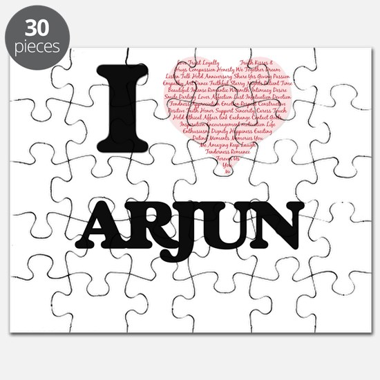 I Love Arjun (Heart Made from Love words) Puzzle