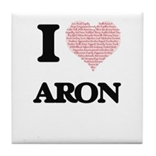 I Love Aron (Heart Made from Love wor Tile Coaster