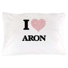 I Love Aron (Heart Made from Love word Pillow Case