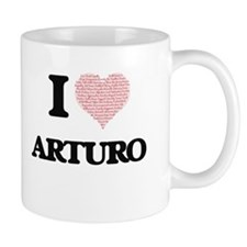 I Love Arturo (Heart Made from Love words) Mugs