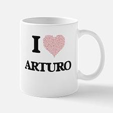 I Love Arturo (Heart Made from Love words) Mugs