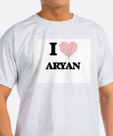 I Love Aryan (Heart Made from Love words) T-Shirt