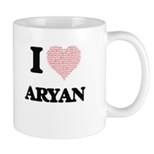 I Love Aryan (Heart Made from Love words) Mugs