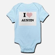 I Love Austin (Heart Made from Love word Body Suit