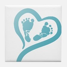 Baby Prints in Heart by LH Tile Coaster