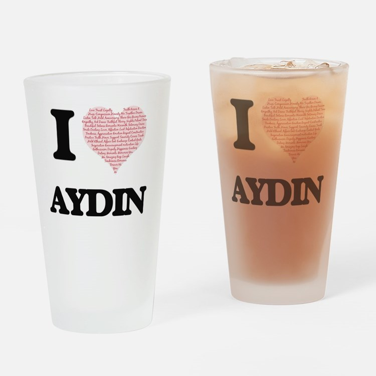 I Love Aydin (Heart Made from Love Drinking Glass