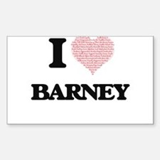 I Love Barney (Heart Made from Love words) Decal