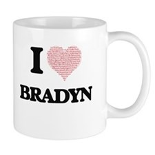 I Love Bradyn (Heart Made from Love words) Mugs