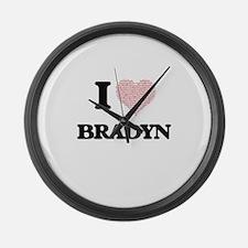I Love Bradyn (Heart Made from Lo Large Wall Clock