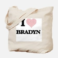I Love Bradyn (Heart Made from Love words Tote Bag