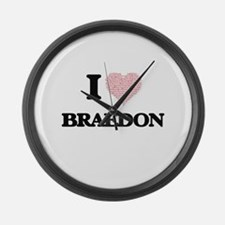 I Love Braedon (Heart Made from L Large Wall Clock
