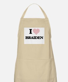 I Love Braiden (Heart Made from Love words) Apron