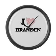 I Love Branden (Heart Made from L Large Wall Clock