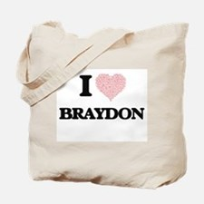 I Love Braydon (Heart Made from Love word Tote Bag