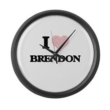 I Love Brendon (Heart Made from L Large Wall Clock