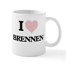 I Love Brennen (Heart Made from Love words) Mugs