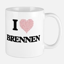 I Love Brennen (Heart Made from Love words) Mugs