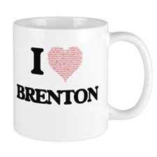 I Love Brenton (Heart Made from Love words) Mugs