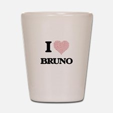 I Love Bruno (Heart Made from Love word Shot Glass