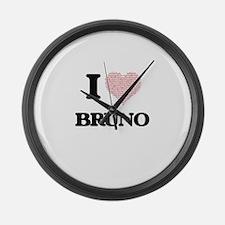 I Love Bruno (Heart Made from Lov Large Wall Clock