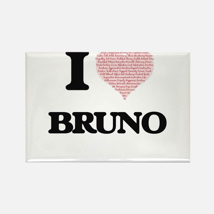 I Love Bruno (Heart Made from Love words) Magnets