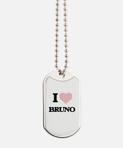 I Love Bruno (Heart Made from Love words) Dog Tags
