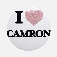 I Love Camron (Heart Made from Love Round Ornament