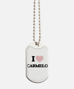 I Love Carmelo (Heart Made from Love word Dog Tags
