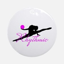 Pink Rhythmic Gymnast Round Ornament