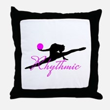 Pink Rhythmic Gymnast Throw Pillow