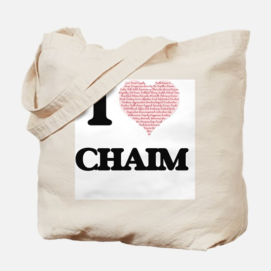 I Love Chaim (Heart Made from Love words) Tote Bag