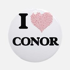 I Love Conor (Heart Made from Love Round Ornament
