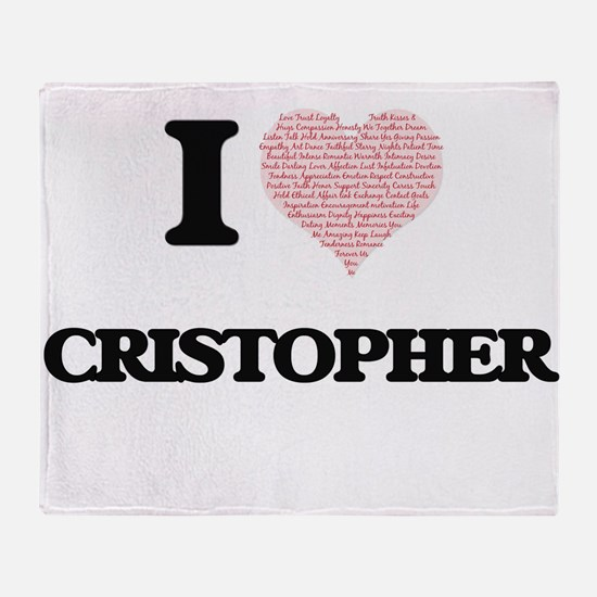 I Love Cristopher (Heart Made from L Throw Blanket