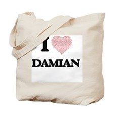 I Love Damian (Heart Made from Love words Tote Bag