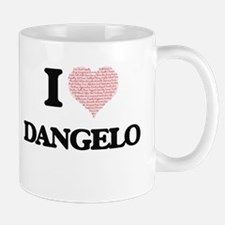I Love Dangelo (Heart Made from Love words) Mugs
