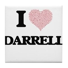 I Love Darrell (Heart Made from Love Tile Coaster
