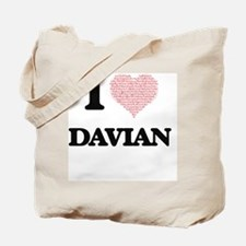 I Love Davian (Heart Made from Love words Tote Bag