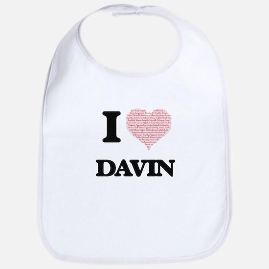I Love Davin (Heart Made from Love words) Bib