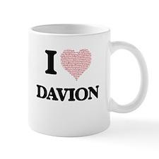 I Love Davion (Heart Made from Love words) Mugs