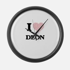 I Love Deon (Heart Made from Love Large Wall Clock