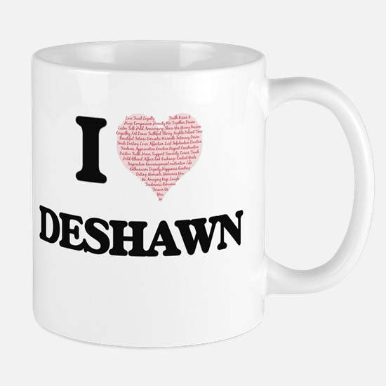 I Love Deshawn (Heart Made from Love words) Mugs