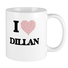 I Love Dillan (Heart Made from Love words) Mugs