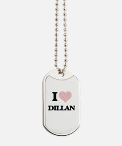 I Love Dillan (Heart Made from Love words Dog Tags